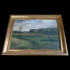 Barbizon landscape oil on panel  Vintage