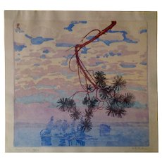 "Walter Joseph Phillips RCA "" Morning ""Block Print 1924"