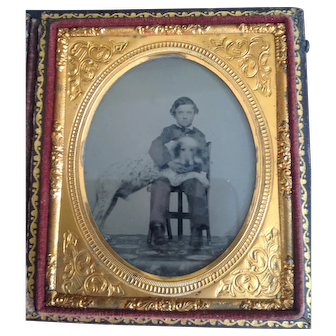 Ambrotype  1850's Large dog with Young Boy