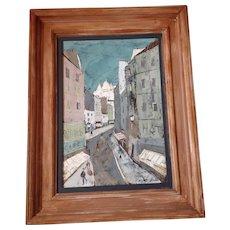 Charles Levier , PARIS STREET scene , OIL painting