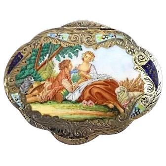 Antique -French Enameld Portrait Compact - 800 Engraved Silver - Mirror and Pads