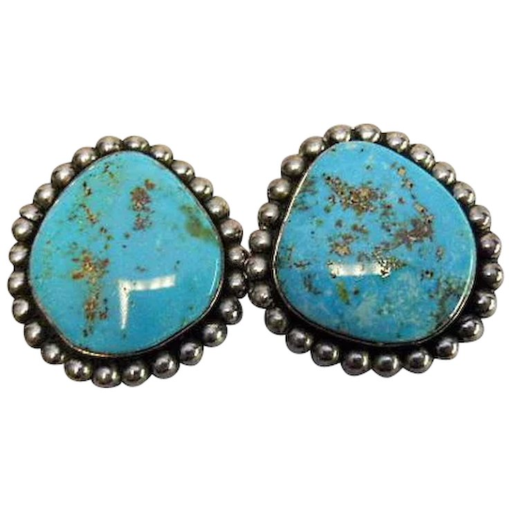 Turquoise Earring Navajo Native American Sterling Clip Earrings