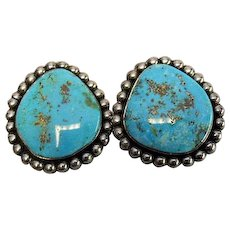 "Sterling Silver - Matrix TURQUOISE - Signed ""Esta"" Clip-On's Earrings - Vintage Southwestern"