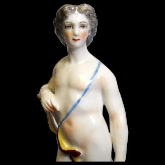19C MEISSEN Porc. Figure, Greek or Roman Goddess with Lyre and Laurel Wreath