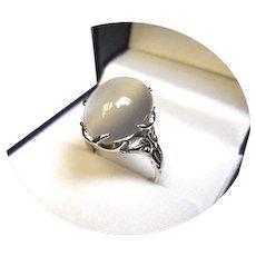 14k Ring - MOONSTONE - 7.55CT - Lg. Natural, 10x14mm - White Gold Mtg.