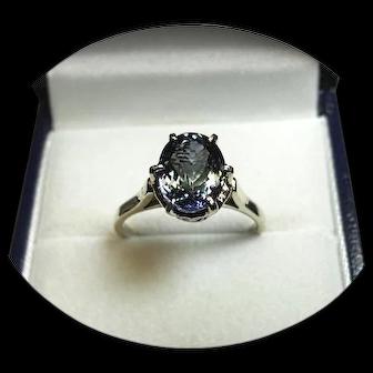 18k White Gold Ring - TANZANITE - Blue / Green Lights - 2.41ct - Vintage Mtg.
