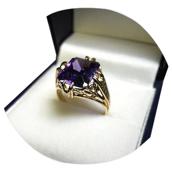 14k Ring - AMETHYST AAA Quality - 4.25CT - Natural Earth Gem - Vintage Yellow Gold