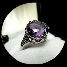 "14k Amethyst Ring - ""AA+"" Color - 8.97CT - Fancy Cut - White Gold - Vintage Mtg."