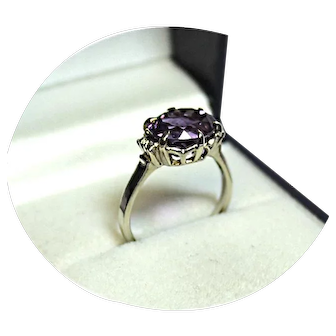 14k Ring - Amethyst, 4CT. - Natural Earth Gem 'AA' Quality - White Gold Mtg.