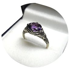 "14k Ring - ""AAA"" Quality AMETHYST - Oval Faceted - Deep Violet - White Filigree Mtg."