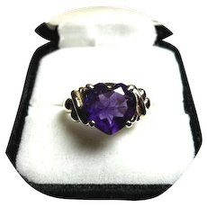 14k Ring - AMETHYST 'AAA' Quality - 3 CT. - Heart Faceted - Vintage Yellow Gold Mtg.