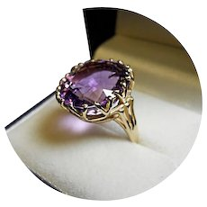"""14k Large Dinner Ring - Amethyst """"AA"""" Color - Vintage Crown - Yellow Gold Mtg."""