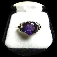 14k Ring AMETHYST - 'AAA' Quality 3 CT. Heart Faceted Ring - Vintage Yellow Gold