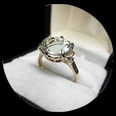 14k Ring - Light Blue AQUAMARINE - Natural Gem, 3.36 CT - Checkerboard Cut - Vintage 14k Yellow Gold