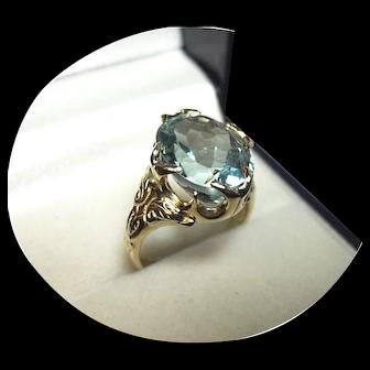 14k Ring - Very Nice Blue Aquamarine - 6.60CT - Vintage - Yellow Gold Mtg.
