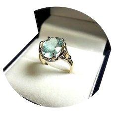 14k Ring - Light Blue AQUAMARINE - Natural Gem, 3 CT - Vintage 14k Yellow Gold