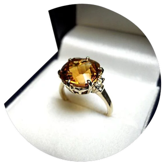 14k Ring - Golden Citrine - Cushion Cut - 4.90CT - Vintage - 14k Yellow Gold Mtg