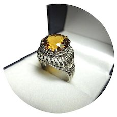 14k Ring - GOLDEN CITRINE - Fancy Cut - 6.27CT - Vintage White Gold Mtg