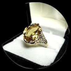 14k Ring - GOLDEN CITRINE -Natural - 6.55 Faceted - Vintage Yellow Gold Mtg
