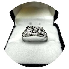 18k Engagement Ring - DIAMOND, 1 CT TW - SI1, HI Color - Art Deco Filigree White Gold