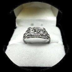 18k DIAMOND Ring - Mine Cuts 1 CT TW - SI1, HI Color - Art Deco Filigree W. Gold