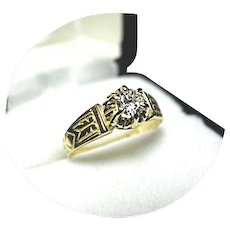 18k Yellow Gold - .26CT Diamond SI 1 - G color - Solitaire Ring - Vintage Mtg.