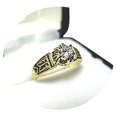 18k Yellow Gold - DIAMOND - .26CT - SI 1 Quality - G color - Solitaire Ring - Vintage Mtg.