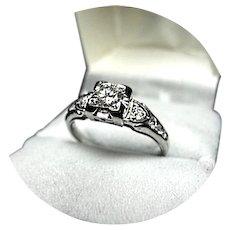 18k DIAMOND Ring - .45CT TW - SI1, HI Color - Art Deco Filigree W. Gold
