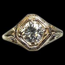 14k DIAMOND Ring - Brilliant .68 CT - SI1, HI Color - Art Deco Filigree Y. Gold-