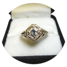 14k Ring - DIAMOND - Brilliant .68 Carat - SI1, HI Color - Art Deco - Filigree Yellow Gold Mounting
