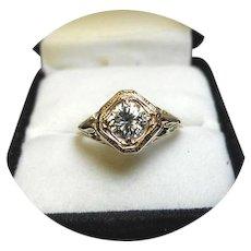 14k Ring - DIAMOND - Brilliant .68 Carat - SI1, HI Color - Art Deco - Filigree Yellow Gold Mounting
