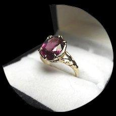14k Ring - Rhodolite Garnet - Violet Red - Oval cut - Vintage Filigree - Yellow Gold