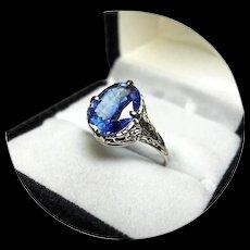 14k Ring - KYANITE 'Bright Blue' 3.62CT Gem - Vintage Filigree - White Gold