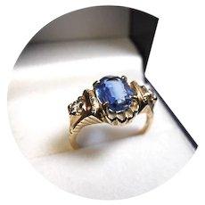 14k Ring - KYANITE, 2.25CT and Diamond - Vintage Yellow Gold Mtg.
