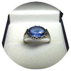 14k Ring - KYANITE - Bright Blue - 2.71ct - Vintage Engrave White Gold Mounting