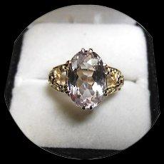 14k - Peachy-Pink KUNZITE - Set In A Vintage Filigree - Yellow Gold Ring - NICE