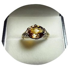 14k Ring - MADEIRA Citrine -  2.40CT - Vintage Filigree - Yellow Gold Mounting
