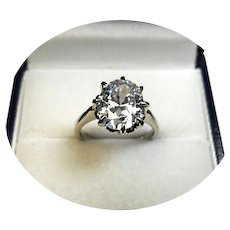 14k Ring - Moissanite - 3CT Oval Faceted - Vintage White Gold Prong Mtg.