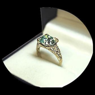 14k Ring - Bluish Moissanite-Diamond - 3CT. - Vintage Yellow Gold- Filigree Mtg