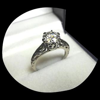 14k Ring - Brilliant Moissanite - 1.75CT. - VVS1 - Vintage Ornate White Gold Mtg.