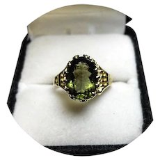 18k Ring - MOLDAVITE - A Meteor Gem, Natural - Crown Setting - Vintage Yellow Gold Mounting