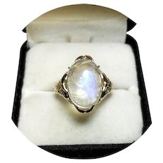 14k Ring - MOONSTONE - Natural Rainbow Blue - 6.75CT - Yellow  Gold Mtg.