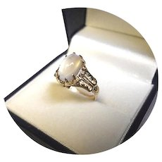 14k Ring - Natural Blue Sheen MOONSTONE – 3.46CT - White Gold Filigree Mtg.
