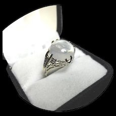 14k Ring - Natural Lunar MOONSTONE - Art Deco Filigree - White Gold Mounting