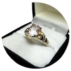 14k Ring - Pinky MORGANITE, 1.73CT - Natural Gem - Vintage Yellow Gold Mtg.