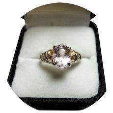 14k Ring - Pinky MORGANITE, 1.73CT - Natural Gem - Vintage Yellow Gold Mtg.