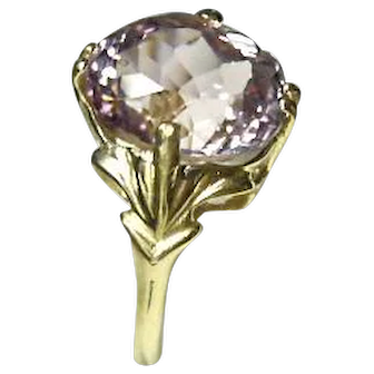 Ring 14k - MORGANITE, Peachy-Pink - 3.13CT – Cushion Cut - Vintage Yellow Gold