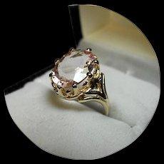 14K Ring - Peachy-Pink MORGANITE Gem - 3.29CT - Vintage Yellow Gold Mounting