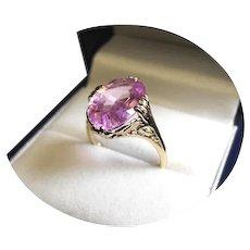 14k Ring - MORGANITE - 7.40CT - Pink Natural Gem - Vintage 14k Yellow Gold Mtg.
