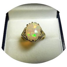 18k Yellow Gold Ring - FIERY WELO OPAL - Rainbow Colors - 2.66CT - Vintage Mtg.